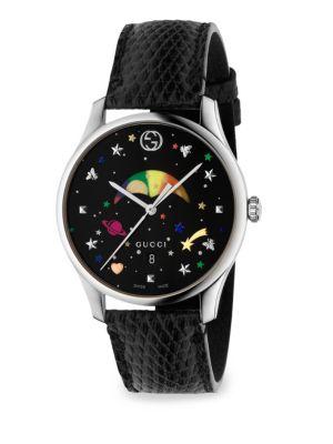 G-Timeless Rainbow Moonphase Lizard Strap Watch in Black