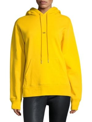 Oversized Taxi Logo Print Cotton Hoodie, Yellow