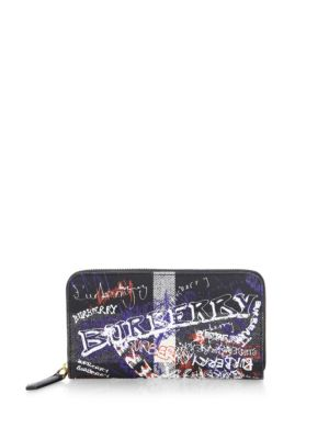 Burberry  Graffiti Coated Canvas Continental Wallet