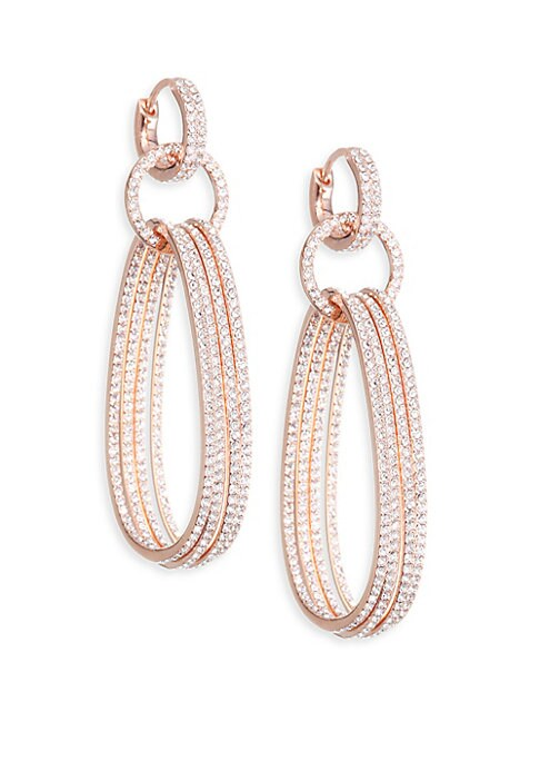 "Image of .EXCLUSIVELY AT SAKS FIFTH AVENUE. Intricate drop earrings made for ornamentation. Crystal. Rose gold plated brass. Drop, about 2.38"".Diameter, about 0.5"".Huggy closure. Imported."