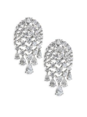 "Image of EXCLUSIVELY AT SAKS FIFTH AVENUE. Dazzling earrings with a delightful dangle. Rhodium and black rhodium-plated brass. Length, about 1.38"".Width, about 0.75"".Post back. Imported."