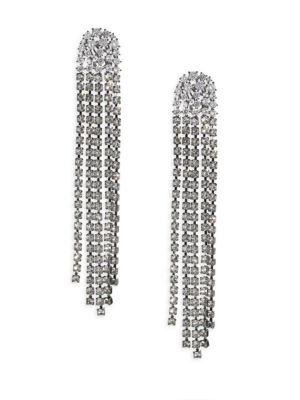 "Image of EXCLUSIVELY AT SAKS FIFTH AVENUE. Glistening drop earrings made for elegance. Crystals. Black rhodium-plated brass. Drop, about 4.75"".Width, about 0.63"".Post-and-hinge back. Imported."