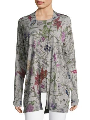 "Image of Flowy cardigan featuring floral design. Roundneck. Long sleeves. Open front. About 32"" from shoulder to hem. Polyamide/viscose/wool/cashmere. Hand wash. Imported."