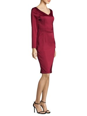 """Image of Tailored sheath dress with a stain sheen.V-neck. Long sleeves. Concealed back zip. Fully lined. About 44"""" from shoulder to hem. Polyester/polyamide/elastane. Dry clean. Imported. Model shown is 5'10"""" (177cm) wearing US size 4."""