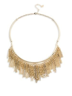 "Image of Bar necklace with pave and chain fringe. Pave. Goldtone. Length, 18"" with 2"" extender. Lobster clasp. Imported."