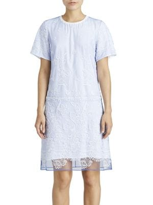 "Image of Embroidered t-shirt dress is striking. Roundneck. Short sleeves. Concealed back zip. About 59"" from shoulder to hem. Polyester/polyamide/nylon/cotton. Dry clean. Made in Italy. Model shown is 5'10"" (177cm) wearing US size 4."