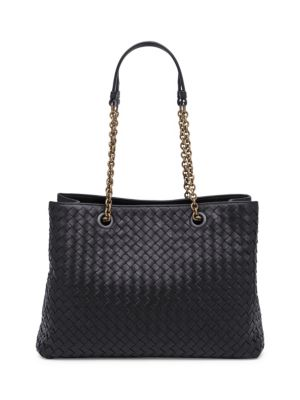 Intrecciato Medium Double-Chain Tote Bag in Black