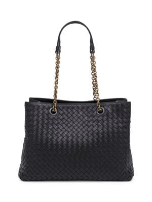 Medium Intrecciato Leather Tote Bag - Black