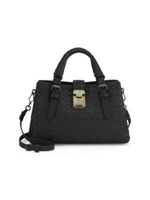 Mini Roma Leather Satchel - Black in 1000- Nero