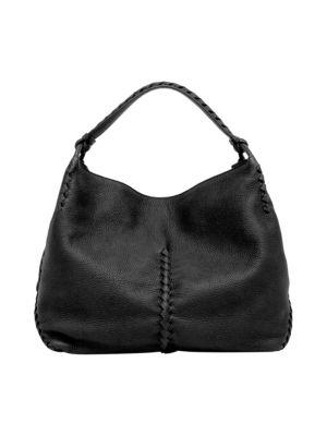 Bottega Veneta Cervo Leather Hobo Bag In Black  a8f4112235016