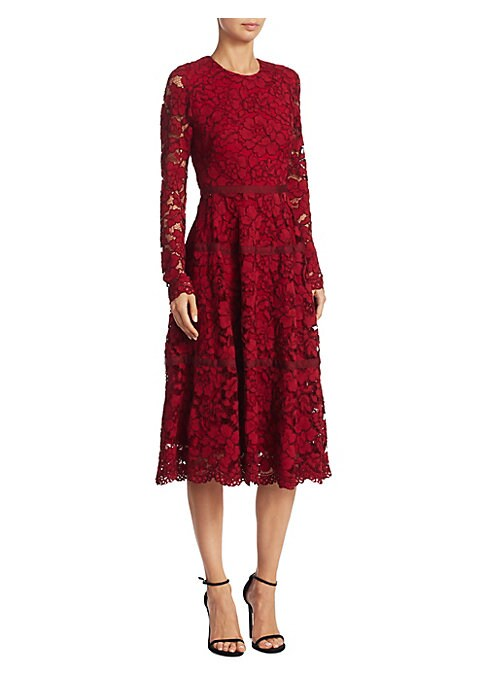 "Image of Seamed long-sleeve dress in delicate floral lace. Roundneck. Long sleeves. Concealed back zip. About 47"" from shoulder to hem. Nylon/rayon/cotton. Dry clean. Imported. Model shown is 5'10"" (177cm) wearing US size 4."