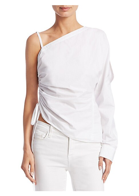 "Image of Cotton ruched one-shoulder top with side tie accent. Asymmetrical neckline. One long sleeve. Pullover style. About 24"" from shoulder to hem. Cotton. Dry clean. Imported. Model shown is 5'10"" (177cm) wearing US size 4."