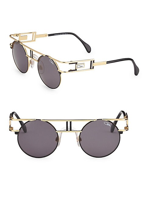 Image of Aviator sunglasses with double metallic bar details.46mm lens width; 24mm bridge width; 140mm temple length. Adjustable nose pads. Metal. Imported.