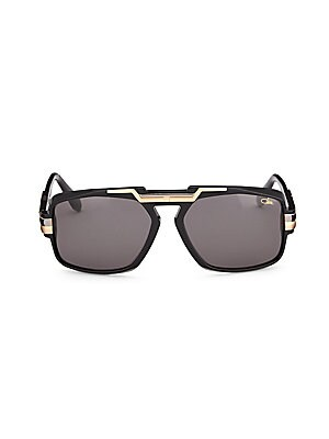 Image of Aviator sunglasses with metallic bar detail on frame 63mm lens width; 17mm bridge width; 135mm temple length Saddle nose bridge Acetate/metal Imported. Men Accessories - Men Sunglasses. Cazal. Color: Black.