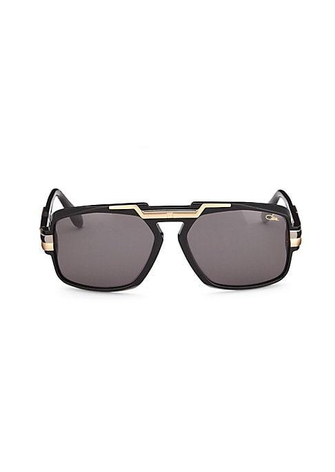 Image of Aviator sunglasses with metallic bar detail on frame.63mm lens width; 17mm bridge width; 135mm temple length. Saddle nose bridge. Acetate/metal. Imported.