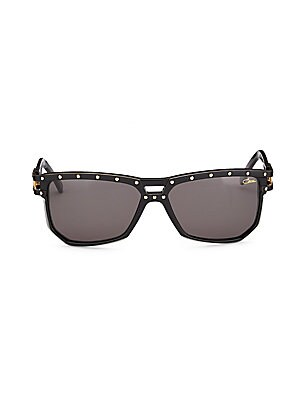 Image of Aviator sunglasses with metallic dot details 60mm lens width; 44mm bridge width; 140mm temple length Saddle nose bridge Acetate Imported. Men Accessories - Men Sunglasses. Cazal. Color: Black.