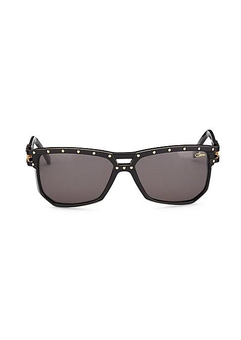 Image of Aviator sunglasses with metallic dot details.60mm lens width; 44mm bridge width; 140mm temple length. Saddle nose bridge. Acetate. Imported.