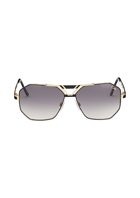 Image of Aviator sunglasses with metallic frames and temples.63mm lens width; 15mm bridge width; 130mm temple length. Adjustable nose pad. Metal. Imported.