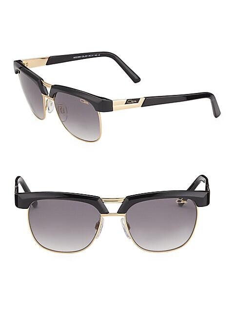 Image of Aviator sunglasses with metallic bridge details.61mm lens width; 13mm bridge width; 135mm temple length. Adjustable nose pads. Metal/acetate. Imported.