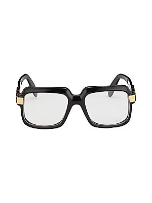 Image of Clear non-optical lenses glasses accented with metallic bar at frames 56mm lens width; 18mm bridge width; 140mm temple length Clear, non-optical lenses. Replacement is optional Acetate/metal Imported. Men Accessories - Men Sunglasses. Cazal. Color: Black.