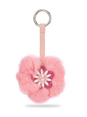 Flower Fox Fur Keychain