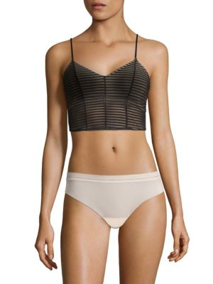 """Image of Textured camisole with an allover linear design.V-neck. Adjustable spaghetti straps. About 15"""" from shoulder to hem. Polyamide/elastane. Hand wash. Made in Italy."""