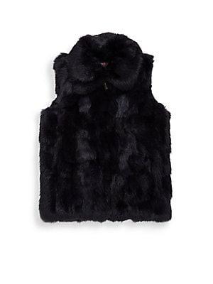 337a65a6c86 Surell - Girl s Rabbit Fur Pom-Pom Cable-Knit Hat - saks.com
