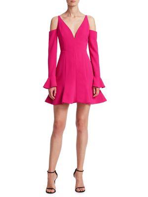 NICHOLAS Woman Cold-Shoulder Fluted Crepe Mini Dress Fuchsia