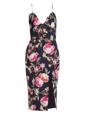 NICHOLAS Woman Lace-Up Floral-Print Silk Crepe De Chine Midi Dress Navy