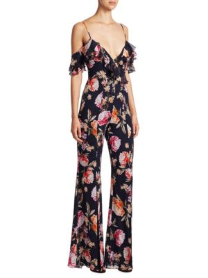 NICHOLAS Lucile Floral Double Frill Jumpsuit in Navy/Floral
