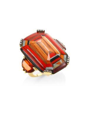SILVIA FURMANOVICH 18K Yellow Gold, Brown Diamonds And Rio Grandese Citrine Marquetry Ring in Red