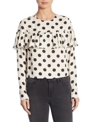 LPA Polka-Dotted Silk Top in White