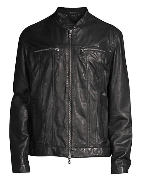 Zip-Front Leather Jacket