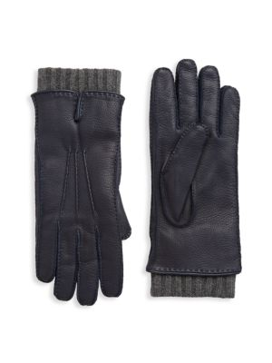 Image of Leather gloves with pintuck detailing on top. Rib-knit cuffs. Pull-on style. Cashmere lining. Leather. Dry clean by leather specialist. Made in Italy.