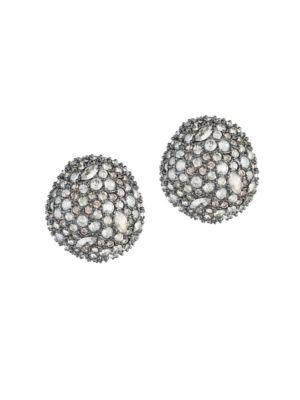 Elements Crystal Encrusted Button Stud Earrings, Black