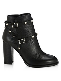52361ec76fa9 Valentino Garavani. Rockstud Pebbled Leather Booties