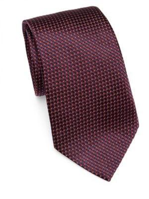 Ermenegildo Zegna  Burgundy & Navy Floral Print Tie
