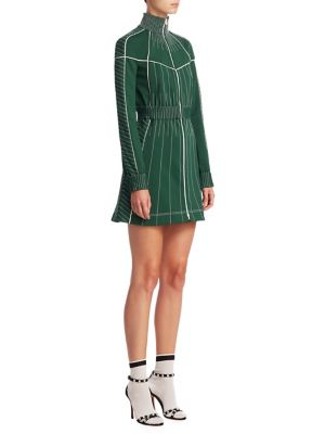 Long-Sleeve Zip-Front Fitted Short Dress With Contrast Topstitching in Green