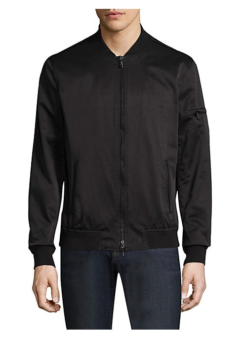 """Image of Classic bomber jacket in cotton-blend fabric. Stand collar. Long sleeves. Rib-knit at neck, cuffs and hem. Exposed front zip. Side slip pockets. Sleeve zip welt pockets. About 40"""" from shoulder to hem. Cotton/polyester/nylon. Machine wash. Imported."""