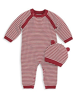 0d414c6f755 Elegant Baby - Baby s Two-Piece Cotton Striped Coverall and Cap Set