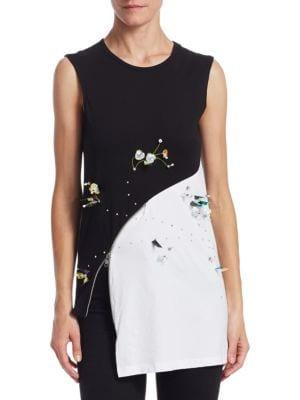 AV ROBERTSON Embellished Zip Hem Top in Black White