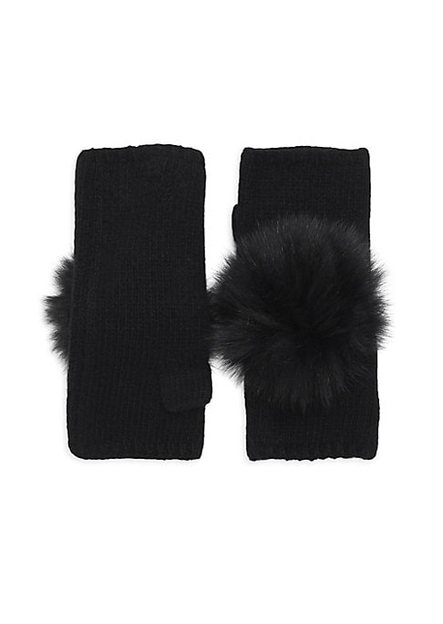 "Image of Fur pom pom tops plush cashmere fingerless gloves. Cashmere. Fur type: Dyed fox. Fur origin: Finland. Dry clean by fur specialist. Imported. SIZE. Length, about 7""."