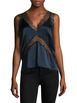 "Image of Pure silk top designed with mesh lace panels.V-neck. Sleeveless.V-back. About 22"" from shoulder to hem. Silk. Dry clean. Imported. Model shown is 5'10"" (177cm) wearing a size Small."