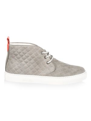 Image of Leather chukka sneakers perfect to your casual outfit. Suede upper. Round toe. Lace-up vamp. Back pull tab. Leather lining. Rubber sole. Made in Italy.