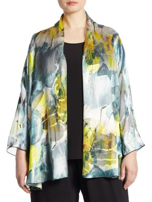 "Image of Fluid devore cardigan in abstract print. Stand collar. Bracelet sleeves. Open front. About 32"" from shoulder to hem. Rayon/silk. Dry clean. Made in USA of imported fabric."