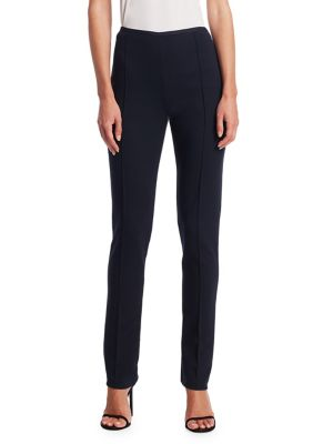 """Image of Seamed stretch-knit pant in versatile skinny fit. Concealed side zip closure. Shaping darts. Rise, about 12"""".Inseam, about 30.5"""".Viscose/polyamide/elastane. Dry clean. Made in Italy. Model shown is 5'10"""" (177cm) wearing US size 4."""