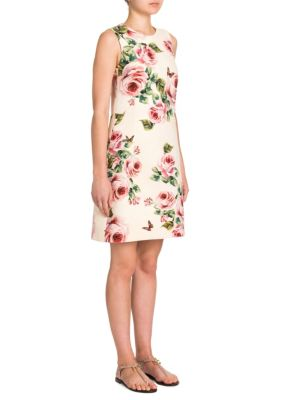Sleeveless Rose & Peony Print Wool-Crepe Shift Dress in Neutrals