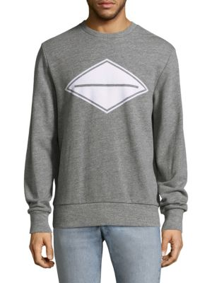 Image of Cotton sweatshirt with printed graphic on front. Crewneck. Long sleeves. Rib-knit at neck, cuffs, and hem. Cotton. Machine wash. Imported.