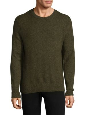 """Image of Cashmere sweater perfect for layering option. Crewneck. Long sleeves. Rib-knit at neck, cuffs, and hem. About 28"""" from shoulder to hem. Cashmere. Dry clean. Imported."""
