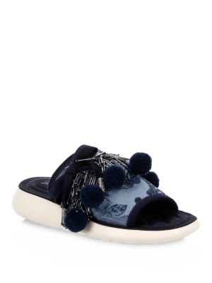 MARC BY MARC JACOBS Emerson Pom-Pom Slides in Blue
